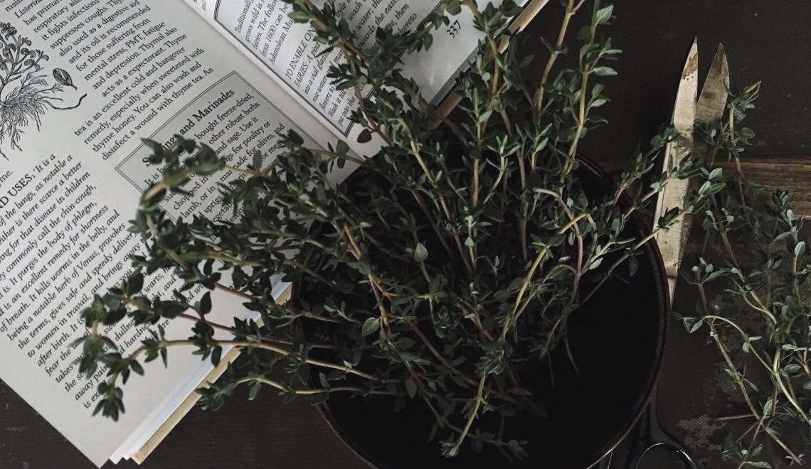 A book open to an article about thyme with sprigs of thyme