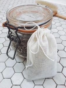 Lavender in a Mason jar. An ingredient for an herbal tea bath.